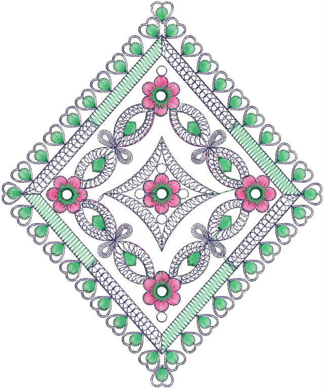 Square Butta Embroidery Design