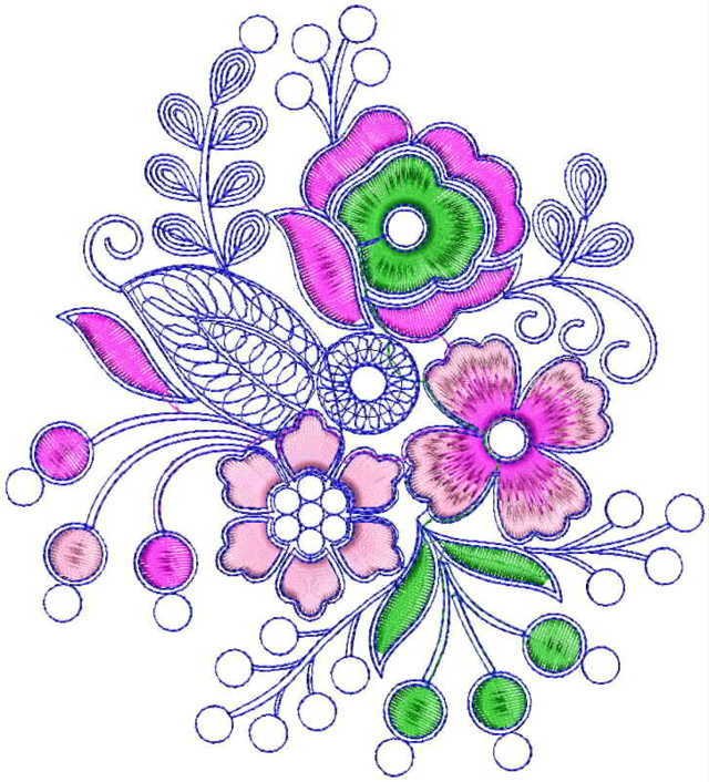 Flowers Butta Embroidery Design