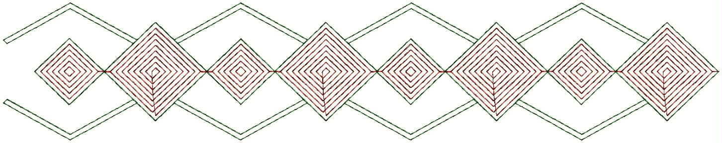 Small & Big Diamond Shape concept lace/border embroidery designs