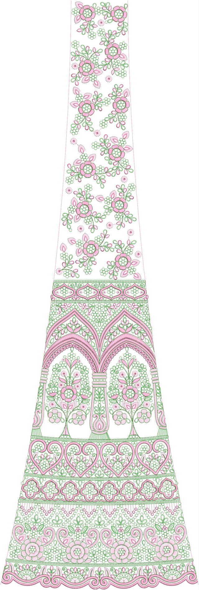 Lehengha / kali Embroidery Design