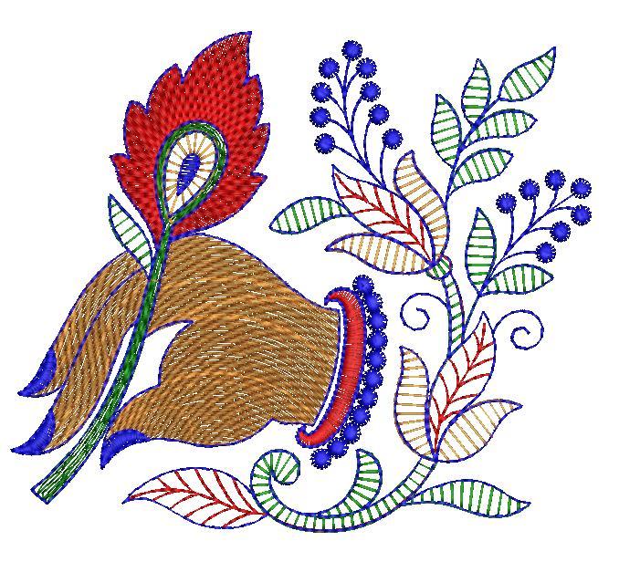 Peacock Feather & hand Figure concept Butta Embroidery Design