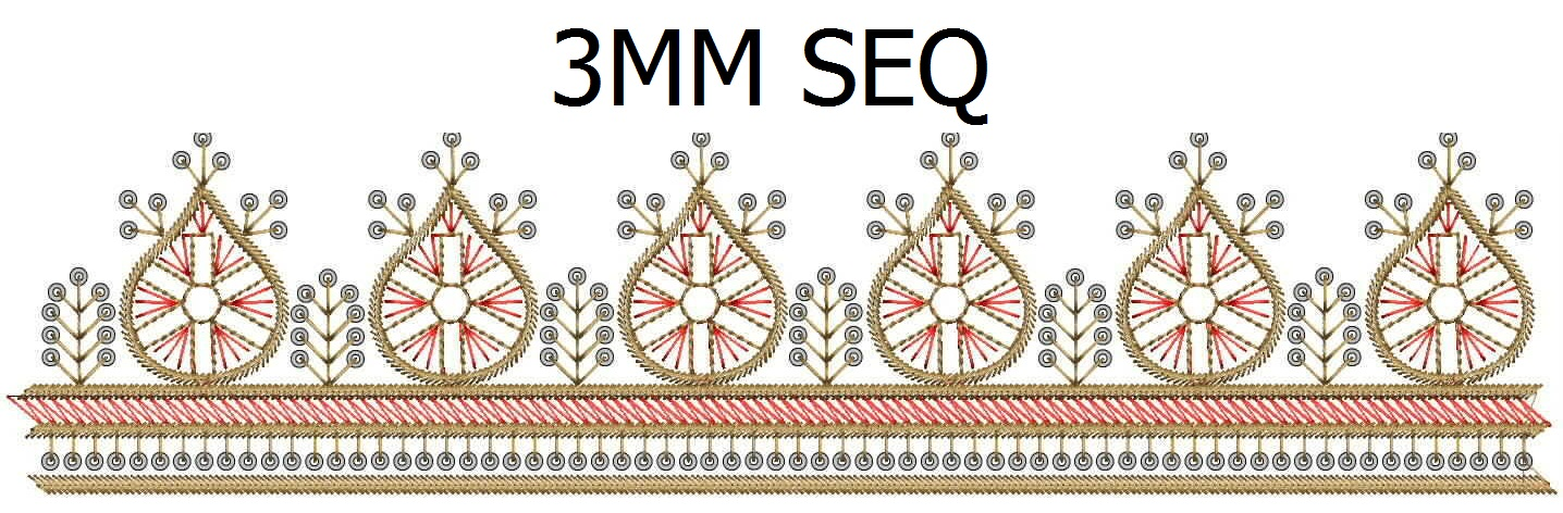 3MM Sequins Awesome lace/border Embroidery Design