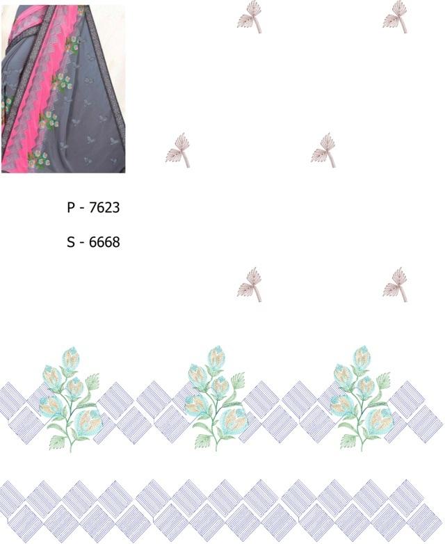 Outstanding work concept panel Pallu skt  Saree Embroidery Design