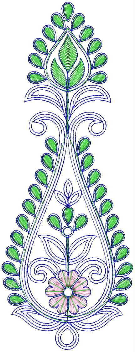 Fancy Flowers Butta Embroidery Design