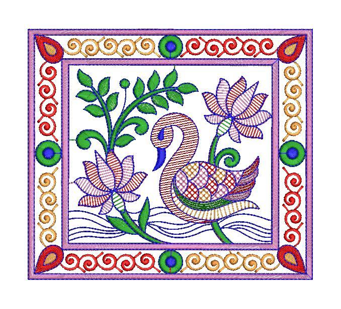 Duck Figure concept butta Embroidery Design