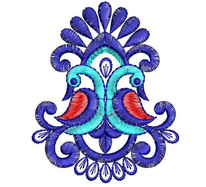 Small beautiful peacock concept Figure Butta Embroidery Design