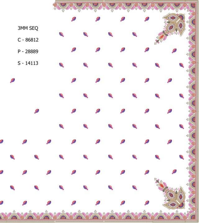 3MM Sequins Corner butta work concept c pallu skt saree embroidery designs