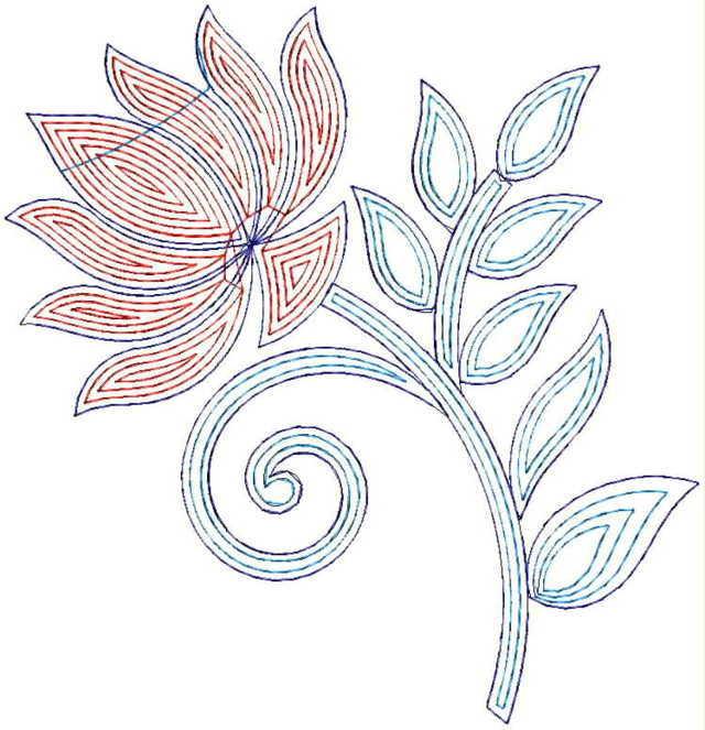 Lotus figure concept Butta Embroidery Design