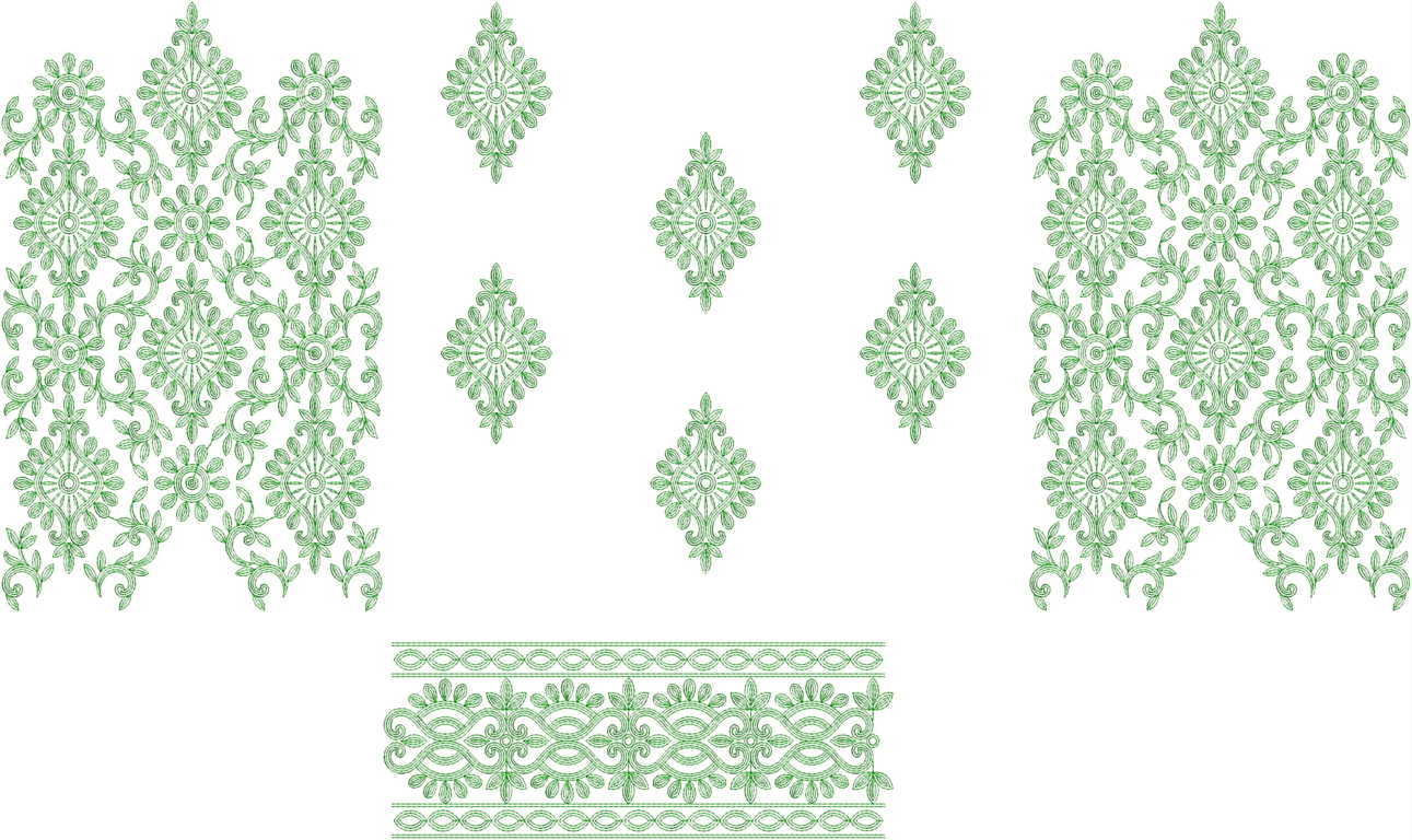 Central panel Daman Top & Duppata Embroidery Design