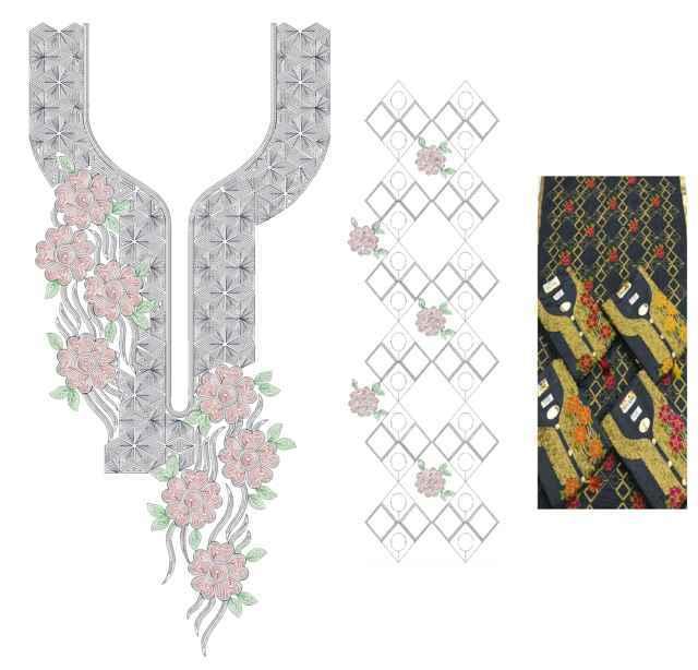 neck-butti-lace Single head Top & Duppata Embroidery Design