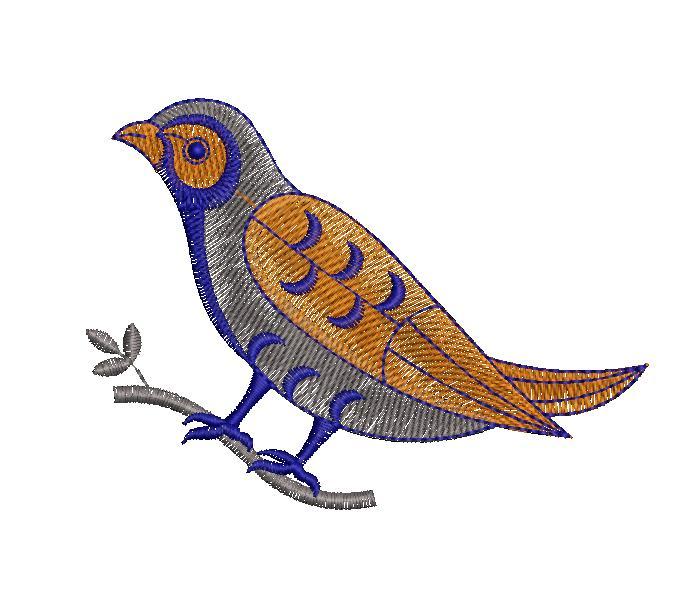 Cuckoo Figure concept Butta Embroidery Design