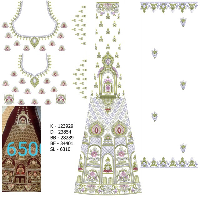 Heavy Lehengha / kali Embroidery Design