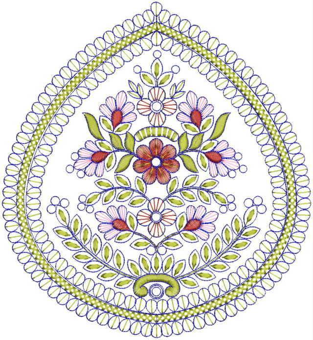 Beautiful flower butta embroidery designs
